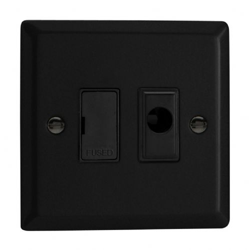 Varilight XY6UFOB.MB Urban Matt Black 1 Gang 13A Unswitched Fused Spur + Flex Outlet